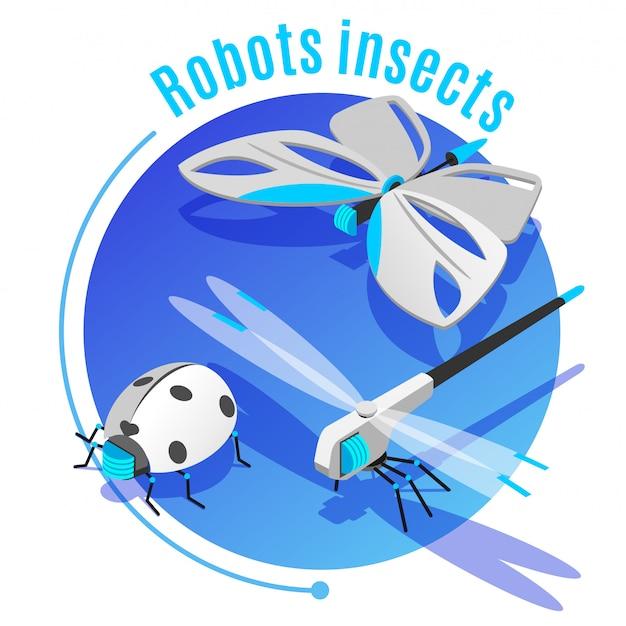 Isometrischer dekorativer kreisrahmen der tierinsekten mit drahtloser fliegender roboterschmetterlingsmarienkäferlibelle