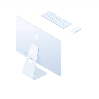 Isometrischer desktop-computer lokalisiert auf weißem hintergrund.