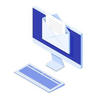 Isometrischer desktop mit e-mail-benachrichtigung