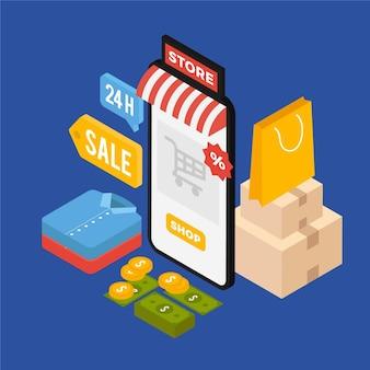Isometrischer e-commerce - konzept