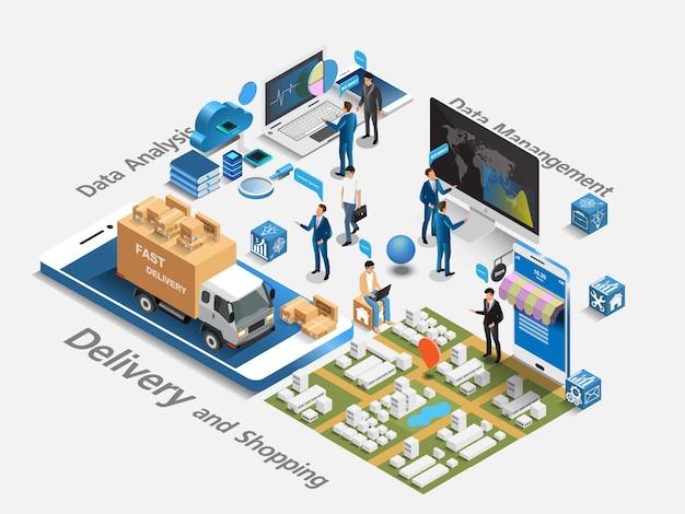 Isometrischer e-commerce-markt und online-shopping mit datenanalyse. isometrisches konzept