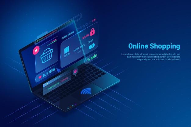 Isometrischer e-commerce mit laptop