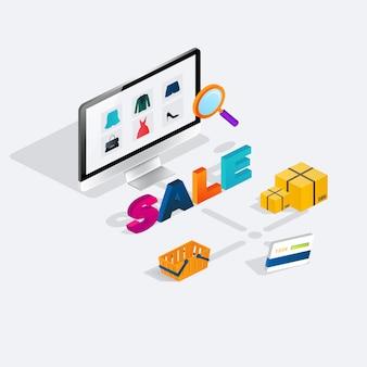 Isometrischer e-commerce-verkauf des flachen netzes 3d