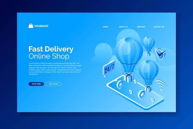 Isometrischer e-commerce - zielseiten