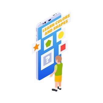 Isometrischer entfernter kindergarten mit jungen, der formen und farben auf dem smartphone isometrisch lernt