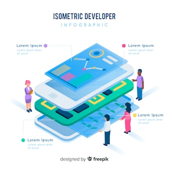 Isometrischer entwickler infografik