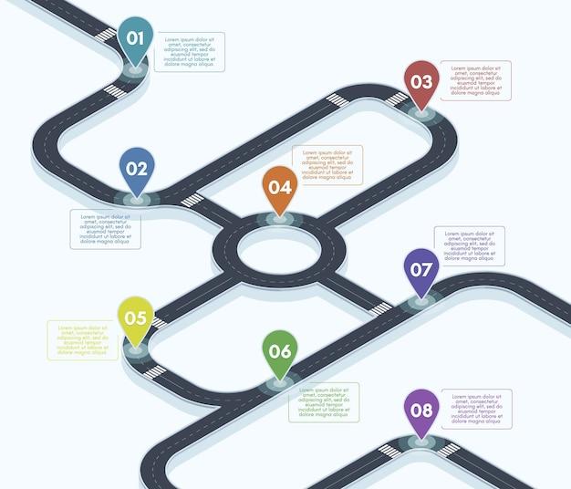 Isometrischer fahrplan. stadtstraße straßenkarte infografik, 3d-straßen-timeline-konzept-vektor-hintergrund-illustration. straßennavigationskarte der autobahn. stadtstraße, positionspunkte auf der straßenkarte