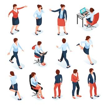 Isometrischer farbiger satz der geschäftsfrauen der weiblichen charaktere in verschiedenen posen am arbeitsplatz lokalisiert auf weißem hintergrund