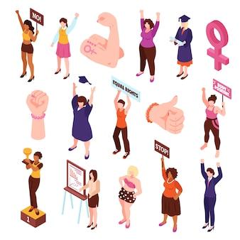 Isometrischer feminismus satz von isolierten fäusten und charakteren von frauen, die für vektorillustration der gleichberechtigung protestieren und streiken