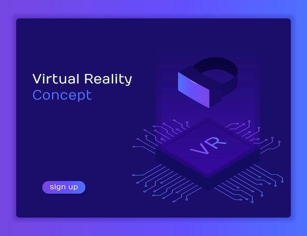 Isometrischer flacher vr-helm virtual reality. plattform der visuellen realität mit mikroscheme. brille abbildung