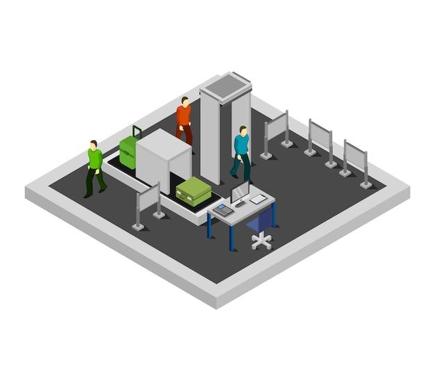 Isometrischer flughafen check-in