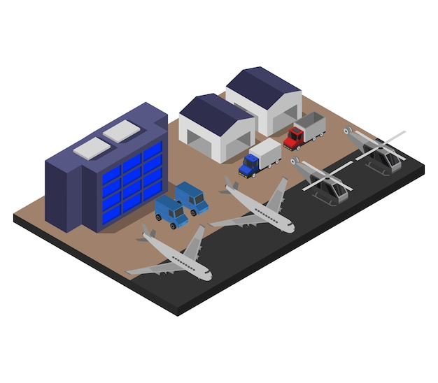 Isometrischer flughafen