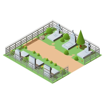Isometrischer friedhof mit gräbern, kreuzen und grabsteinen