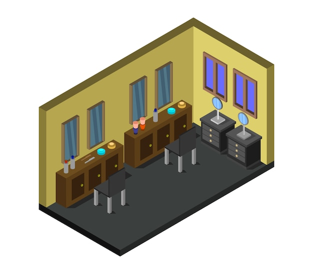 Isometrischer friseurladen