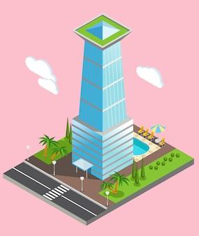 Isometrischer futuristischer wolkenkratzer vom glas mit umweltinfrastruktur auf hellrosa hintergrund