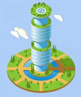 Isometrischer futuristischer wolkenkratzerhintergrund der runden form mit hohem aufstiegsbürogebäude und grünzonen
