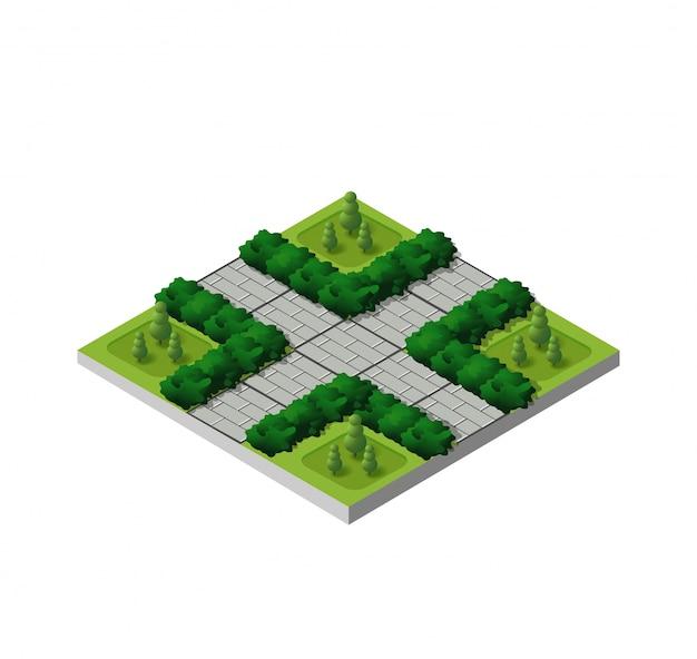 Isometrischer gebäude-stadtpark