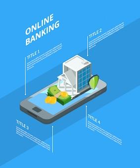 Isometrischer geldfluss in der infographic illustration der bankikonen