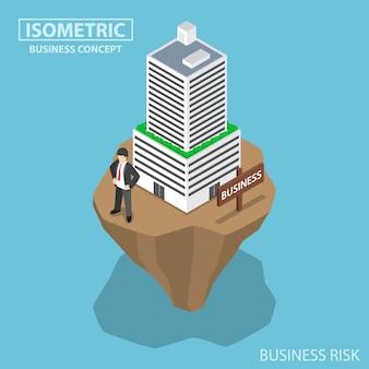 Isometrischer geschäftsmann baut geschäftsgebäude auf instabilem land-, geschäfts- und investitionsrisikokonzept auf