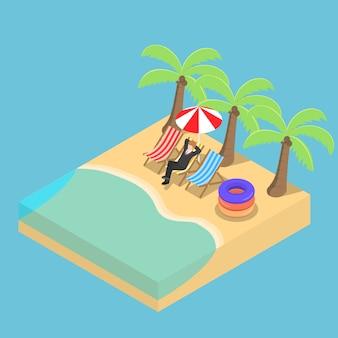 Isometrischer geschäftsmann, der am strand entspannt