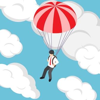 Isometrischer geschäftsmann, der mit fallschirm fliegt