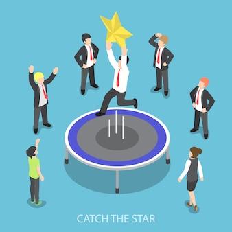 Isometrischer geschäftsmann springt auf das trampolin und fängt den stern