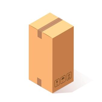 Isometrischer geschlossener karton 3d, karton lokalisiert auf weißem hintergrund. transportpaket im laden, verteilungskonzept. cartoon design