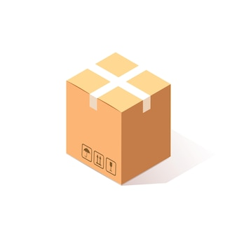 Isometrischer geschlossener karton, karton auf weißem hintergrund. transportpaket im laden, vertrieb.