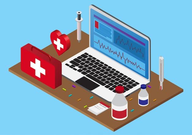 Isometrischer gesundheitsrechner mit erste-hilfe-kasten