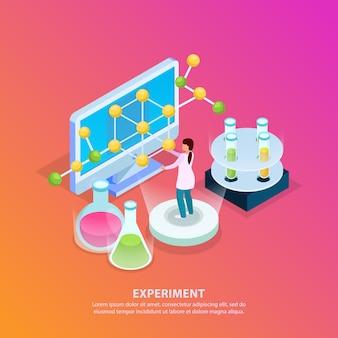 Isometrischer glühhintergrund der wissenschaftlichen forschung mit bearbeitbaren textreagenzgläsermolekülmodellcomputer und menschlichem charakter