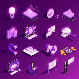 Isometrischer glühsymbolsatz des marketingkonzepts und finanzpiktogramme mit vektorillustration menschlicher zeichen