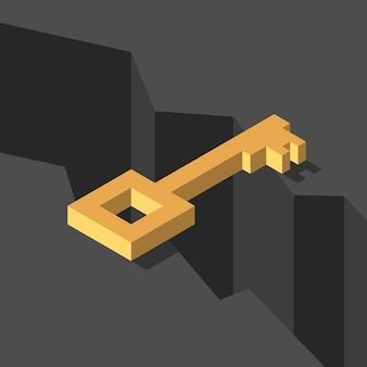Isometrischer goldener schlüssel über einem dunklen schwarzen tiefen abgrund überbrückung der lücke lösungsrisiko widrigkeiten