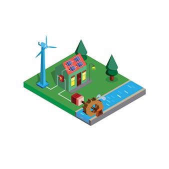 Isometrischer grüner smart house alternativer strom