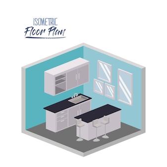 Isometrischer grundriss der küche mit arbeitsplatte und kabinett