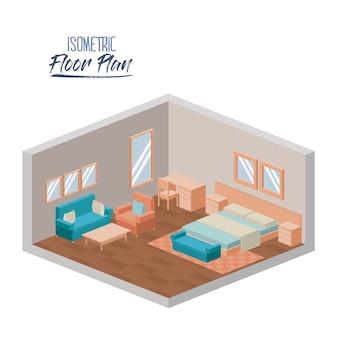 Isometrischer grundriss des hotelschlafzimmers