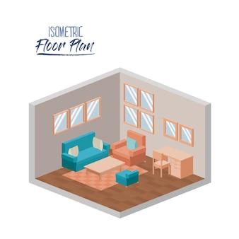 Isometrischer grundriss des wohnzimmers