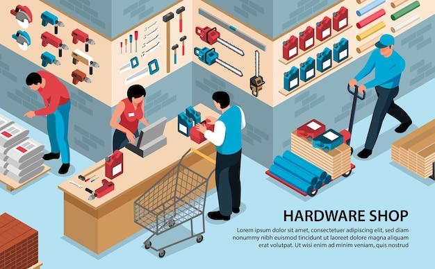 Isometrischer hardware-werkzeugladen horizontale komposition mit text und innenansicht des werkzeugladens mit menschen