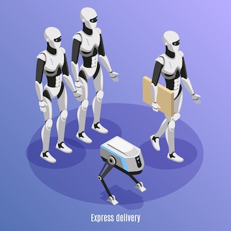 Isometrischer hintergrund der eilzustellung mit verschiedenen arten von den beitragsrobotern, die funktionen von paketen durchführen, tragen illustration