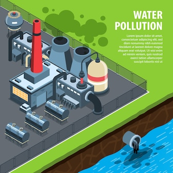 Isometrischer hintergrund der umweltverschmutzung mit text und blick auf die giftige fabrik, die abwasser in den fluss fällt