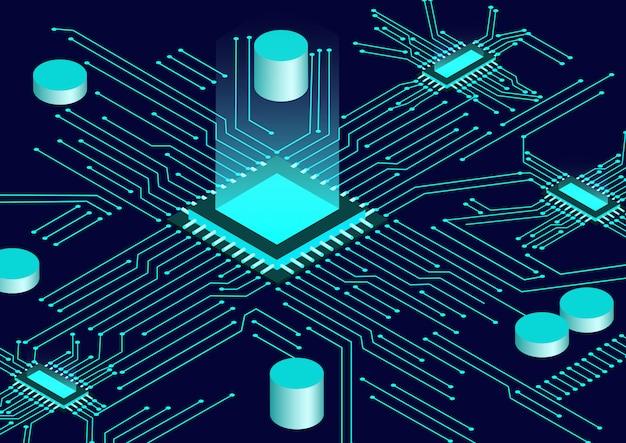 Isometrischer hintergrund des cpu-chips und der leiterplatte