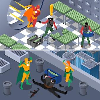 Isometrischer hintergrund des superhelden eingestellt