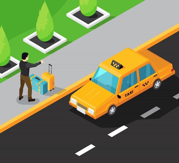 Isometrischer hintergrund des taxiservice mit passagier auf dem bürgersteig, der das gelbe taxifahren des autos stoppt
