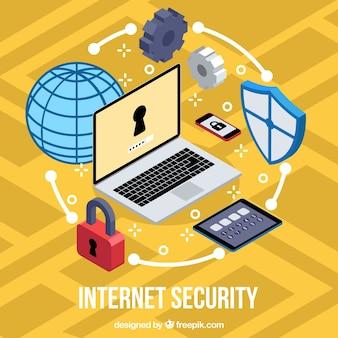 Isometrischer hintergrund mit internet-sicherheitselementen