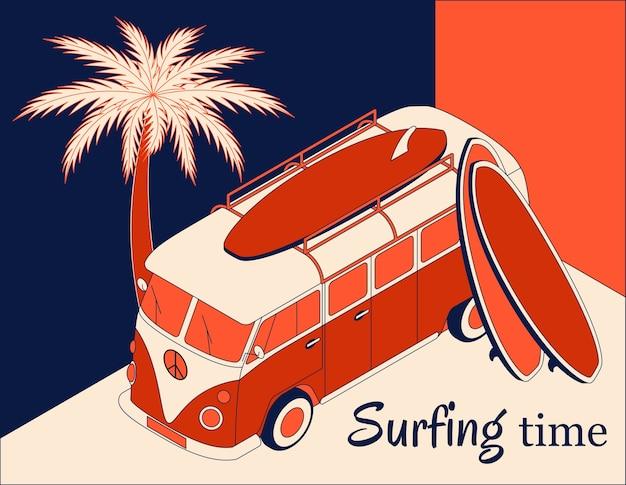 Isometrischer hintergrund mit retro-bus, zwei surfbrettern und palme. surfzeit banner.