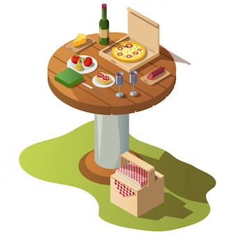 Isometrischer holztisch für picknick mit lebensmittel
