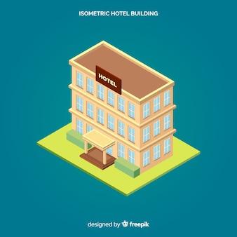 Isometrischer hotelfassadenhintergrund