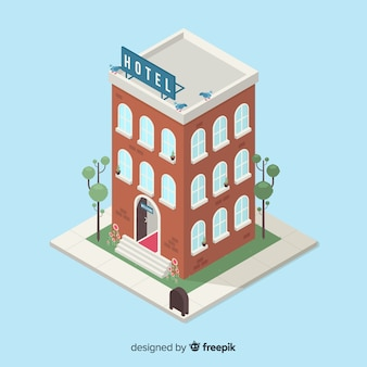 Isometrischer hotelgebäudehintergrund