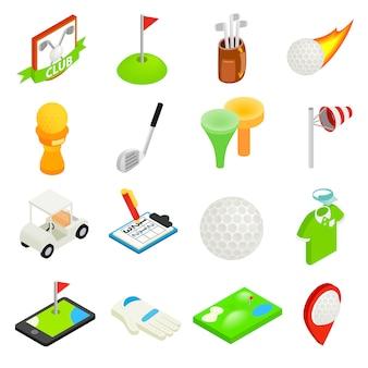 Isometrischer ikonensatz 3d des golfs lokalisiert auf weißem hintergrund