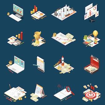 Isometrischer ikonensatz der geschäftsstrategie lokalisierte verschiedene elemente auf der illustration des themas und der abstrakten zusammensetzung