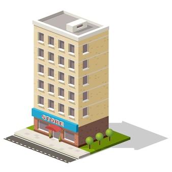 Isometrischer ikonenspeicher des vektors oder einkaufszentrumgebäude